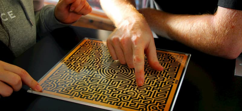 Logic puzzle box being solved